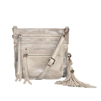 Stretta Small Leather Crossbody and Belt Hip Bag - Sparkle Silver
