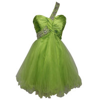 A-line Sweetheart One-shoulder Short / Mini Satin Organza Bridesmaid Dress With Applique  Beading Free Shipping