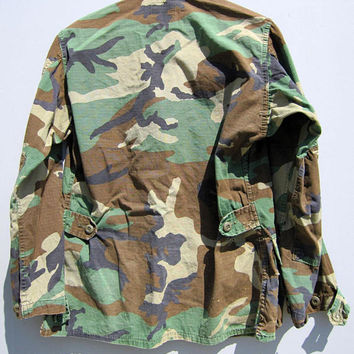 Vintage Camo Jacket Shirt Camouflage USA Military Bdu Woodland Small m1