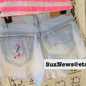 Anchor Embroidered DG Pocket High Waisted Anchor Monogram Pink Blue Sorority Shorts Studs Delta Gamma Dip Dyed
