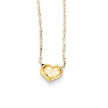 Small Puffed Heart 16 Inch Necklace in 14k Yellow Gold
