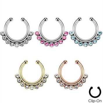 10 pcs Body jewelry Clip On Fake Septum Clicker Non Piercing Nose Ring Hoop Indian