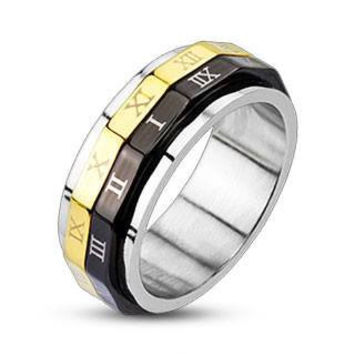 Roman Numeral Spinner - FINAL SALE Black and Gold IP Stainless Steel Ring