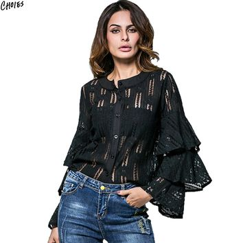 Women Ruffle Layered Flare Sleeve Floral Lace Shirt Autumn Semi Sheer Round Neck Buttons Up Front High Street Fall Top Wear