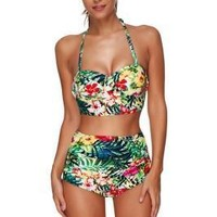 Cutie Floral Print Underwired High Waisted Shorts Swimsuit