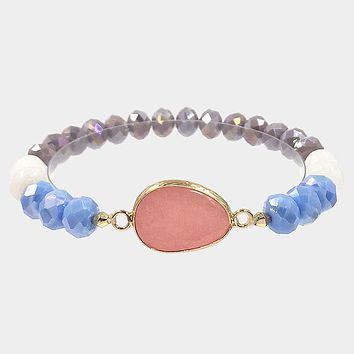 Natural Stone Accented Faceted Beaded Stretch Bracelet