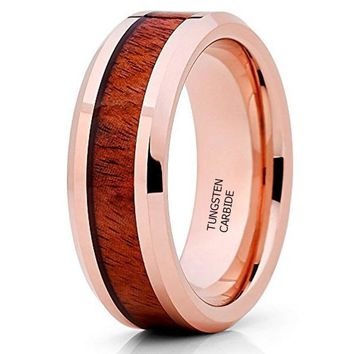 CERTIFIED 8MM Rose Gold Tungsten Koa Wood Tungsten Wedding Band