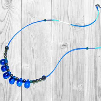 Long Beaded Tribal Necklace - Seed Bead Necklace - Glass Bead Necklace - Drop Glass Beads -  Single Layering Necklace
