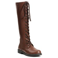 "1"" Knee High Lace Up Boot with Inside Zipper."