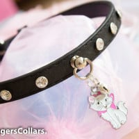 Black Crystal Submissive Collar Marie with mini bell, pet play, D/s, BDSM SLAVE COLLAR halsband Kitten Play Collar mature