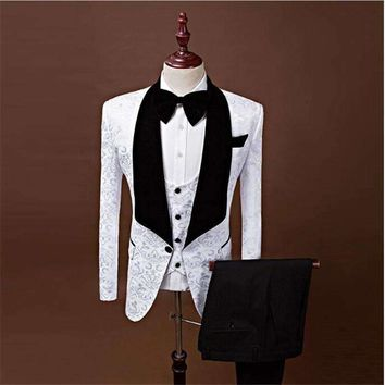 (Jackets+Vest+Pants) 2018 New Men Suits Slim Custom Made Groom Tuxedo Fashion Business Dress Wedding red Suits Blazer