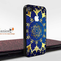 iphone 4 case iphone 4s case iphone 4 cover with blue background and gold printing  unique Iphone case(F00339)