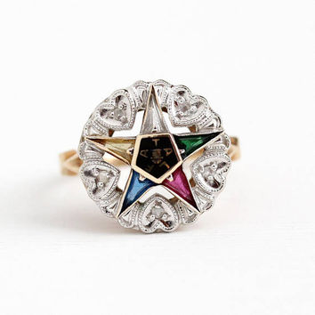 Vintage Star Ring - 10k White & Yellow Gold Order of Eastern Star Diamond - Retro Size 5 1/4 Masonic OES Created Colorful Gems Fine Jewelry