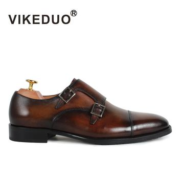 VIKEDUO Luxury Brand 2017 Newest Man's Shoes Handmade Fashion Double Monk Strap Classic Dress Widding Footwear For Men Male