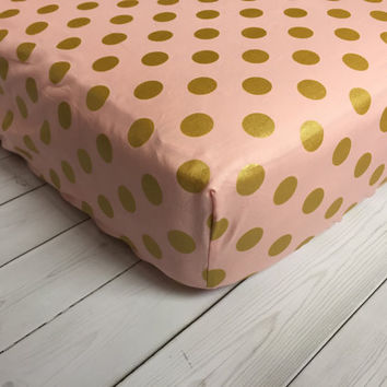 Pink Gold Baby Bedding - Gold Polka Dots - Crib Sheet - Minky Blanket - Bumper Pads - Crib Skirt - Burp Cloths - Changing Pad Cover