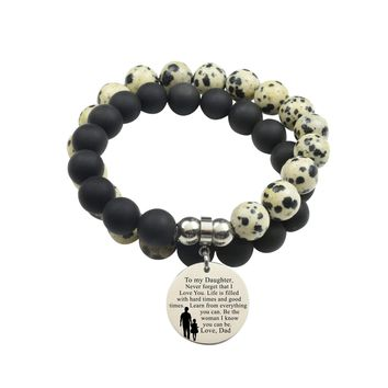 Genuine 10Mm Double Wrap Obsidian Dalmatian Mix Bracelet - To Daughter From Dad
