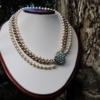 Vintage clasp, knotted triple strand, Swarovski crystal pearl element, 3 in 1 necklace.