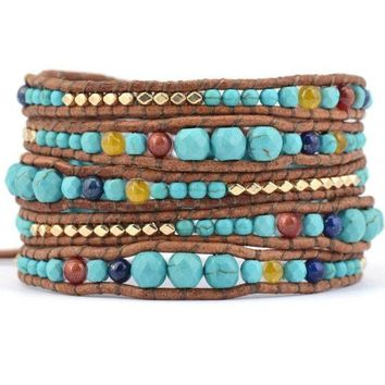 Boho Turquoise & and Blue 5 Wrap Bracelet