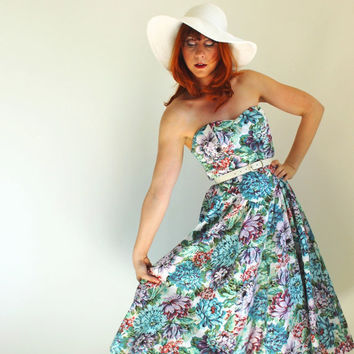 Strapless Floral Sundress. Day Dress. Blue Green Lilac. Weddings.Summer Fashion. Spring Fashion. Size Medium