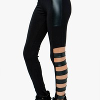 PU TRIMMED CUT-OUT LEGGINGS