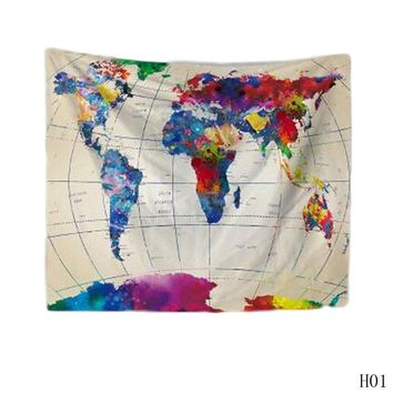 2 Sizes Polyester Wall Hanging World Map Tapestry Indian Mandala Throw Blanket Bedspread Home Dorm Living Room Decoration