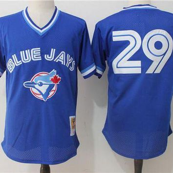 ONETOW Men's Toronto Blue Jays Joe Carter Mitchell & Ness Royal 1993 Authentic Cooperstown Collection Mesh Batting Practice Jersey