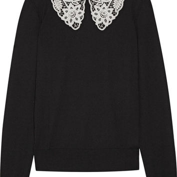 Dolce & Gabbana - Guipure lace-trimmed wool sweater