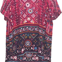 Plus Size Folkloric Floral Printed Woven Tee