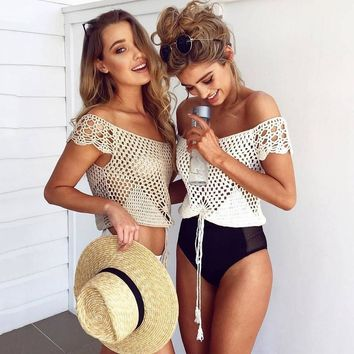 Bralette Beach Stylish Comfortable Hot Sexy Summer Sweater Knit Tops Crochet Hollow Out Mini Slim Ladies Vest [11604660687]