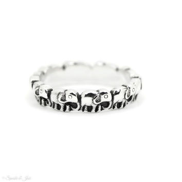 Sterling Silver Antiqued Lined Elephant Ring