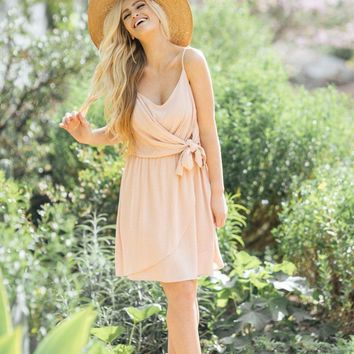 Stacey Pink Tie Crepe Dress