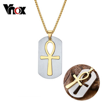 Vnox Removable Ankh Necklace Pendant Surgical Steel Life Cross Egyptian Men Jewelry Gold Plated The Key of the Nile