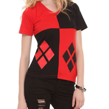 DC Comics Harley Quinn Costume V-Neck Girls T-Shirt | Hot Topic