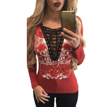 Women T-Shirt Deep V Neck Lace Up Long Sleeve Shirt Ladies Tops Tee Casual Sexy Club Style Fall Band