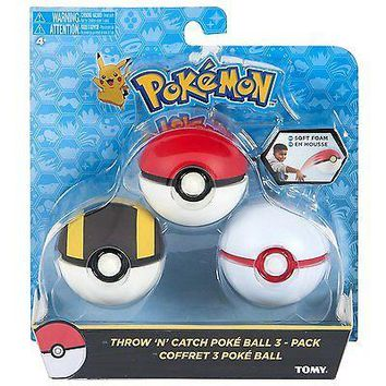 Pokemon Throw n 'N' Catch Poké Ball / Pokeball 3 Pack US Seller USA Authentic