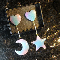 Opalescent Space Heart Dangle Studs