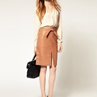 Warehouse | Neutral Leather Pencil Skirt / ASOS