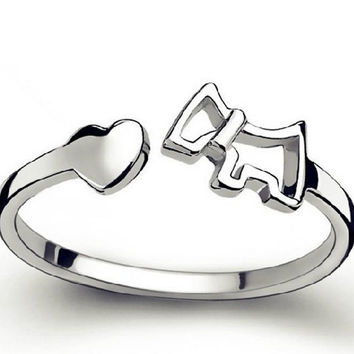 Silver Plated Dog & Heart Ring - Proceeds go to Animal Rescue
