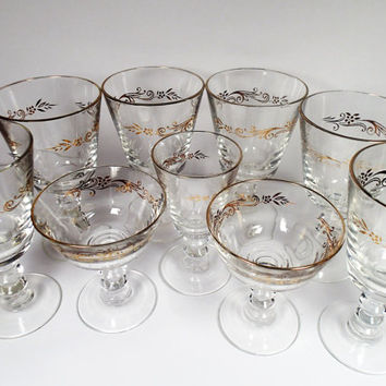 Cocktail stemware Lifetime Glassware Gold Crown stemware 6 goblets, 2 coupe and 1 wine glass