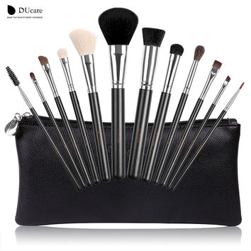 DUcare Professional Makeup Brush Set 12pcs High Quality Makeup Tools Kit With Travel Bag