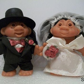 CREYN3C Dam Troll Dolls - Wedding - Groom and Bride