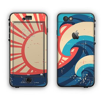 The Retro Vintage Blue vector Waves V3 Apple iPhone 6 LifeProof Nuud Case Skin Set
