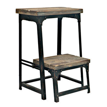 Crestview Collection CVFZR247 Industria Step Stool With Reclaimed Wood Finish