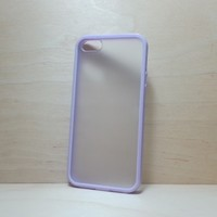 Silicone Bumper and Translucent Frosted Hard Plastic Back Case for iPhone 5 / 5S - Lilac