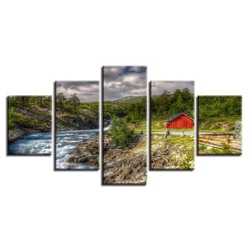 5 Pieces Mountain Trees Stream River Red Barn Landscape Wall Art Print