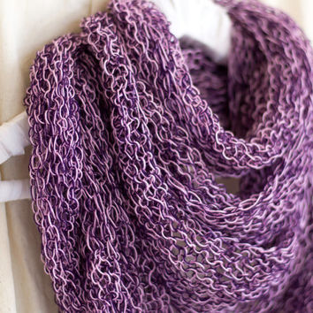 Chunky Pink and Purple Cashmere Scarf, Loop Scarf, Infinity Scarf