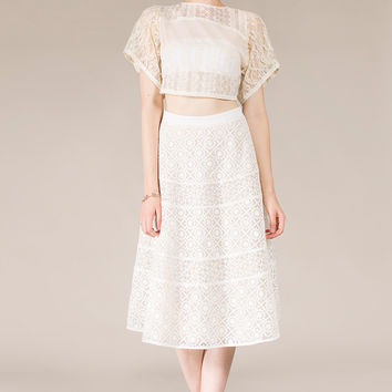 White Organza Midi Skirt