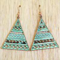 Triangle Aqua Aztec Earrings