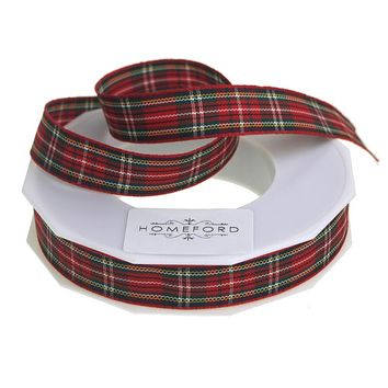 School Plaid Polyester Ribbon, 5/8-Inch, 20 Yards, Red/Green