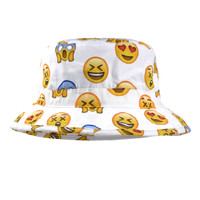 Emoji face white bucket hat